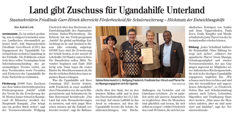 Heilbronner Stimme über den 6. Uganda-Tag